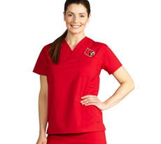 University of Louisville Unisex College Scrub Top 5450